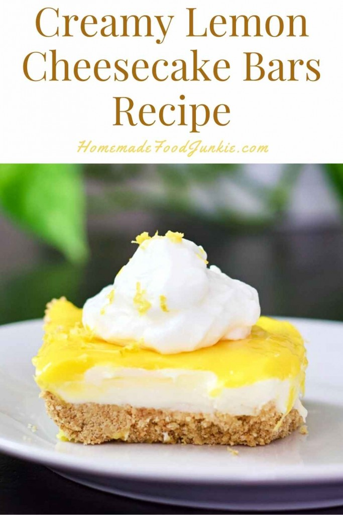 Creamy Lemon Cheesecake Bars Recipe-Pin Image