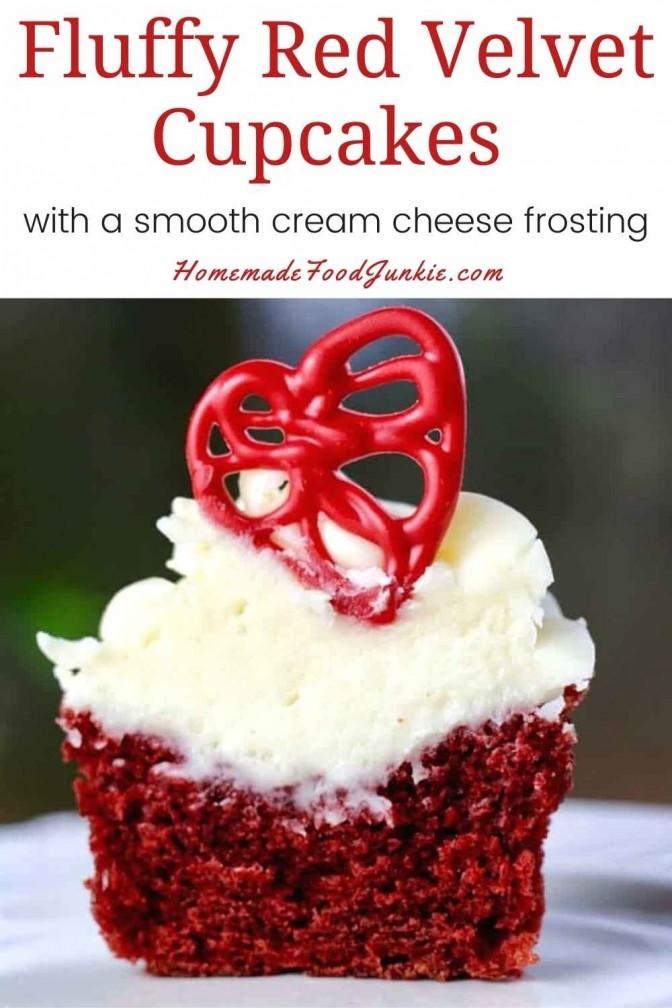 Fluffy Red Velvet Cupcakes-Pin Image
