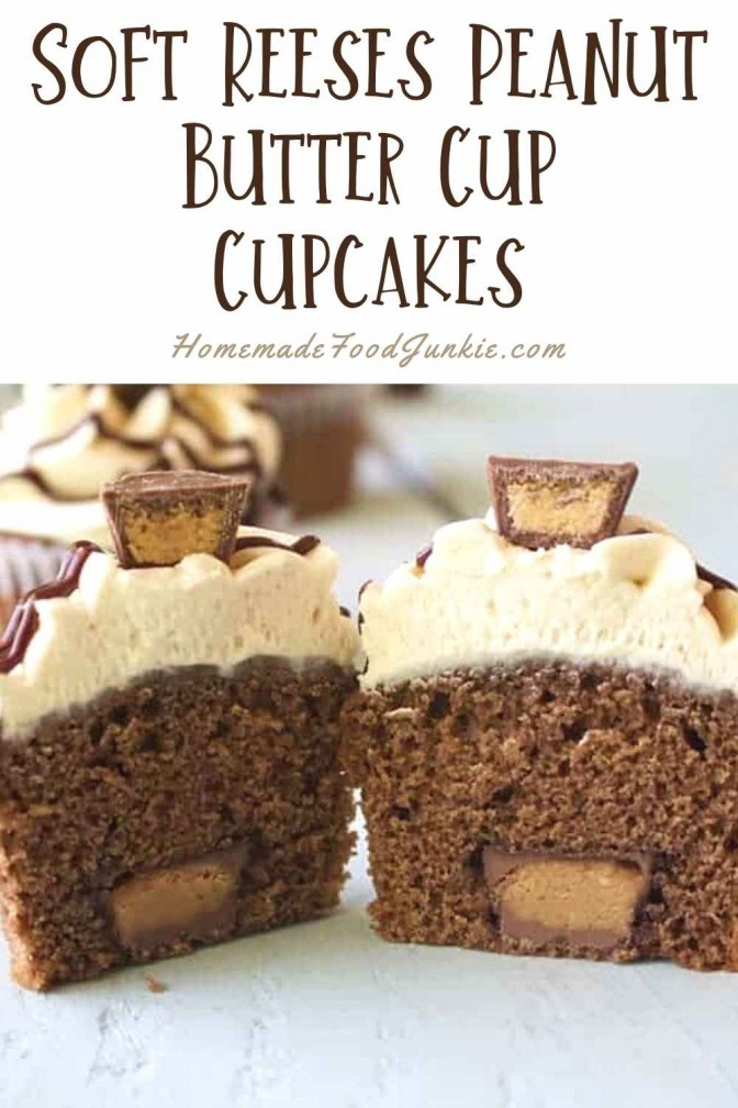 Soft Reeses Peanut Butter Cup Cupcakes-Pin Image