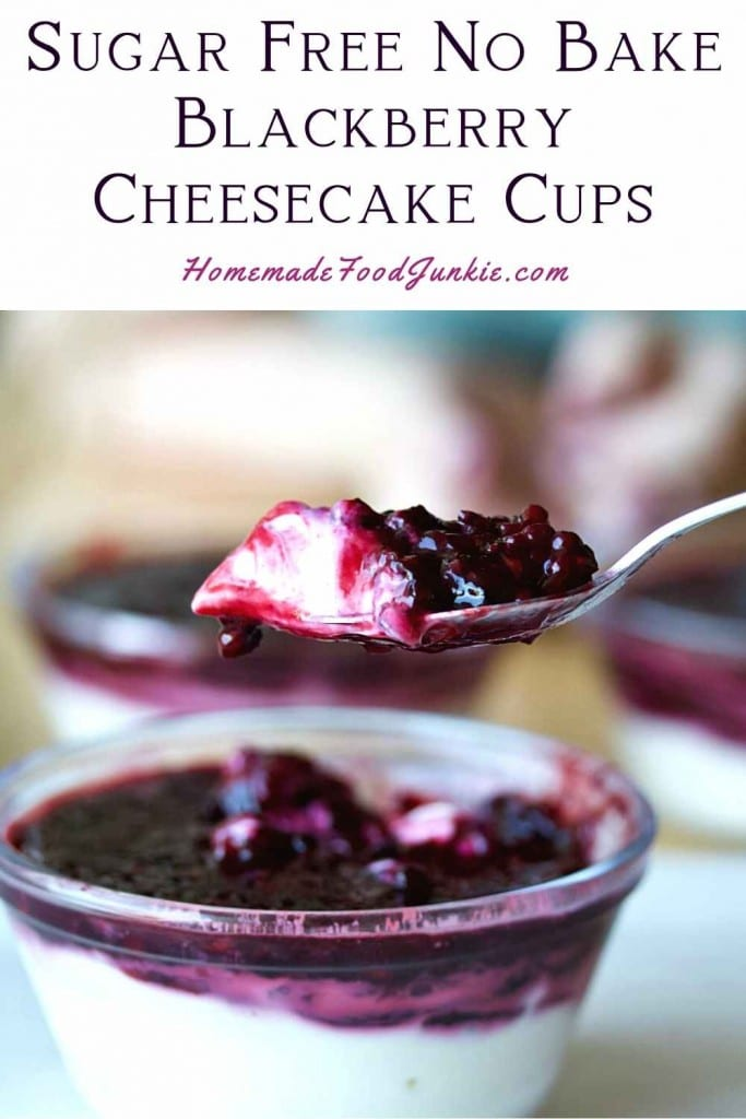 Sugar Free No Bake Blackberry Cheesecake Cups-Pin Image