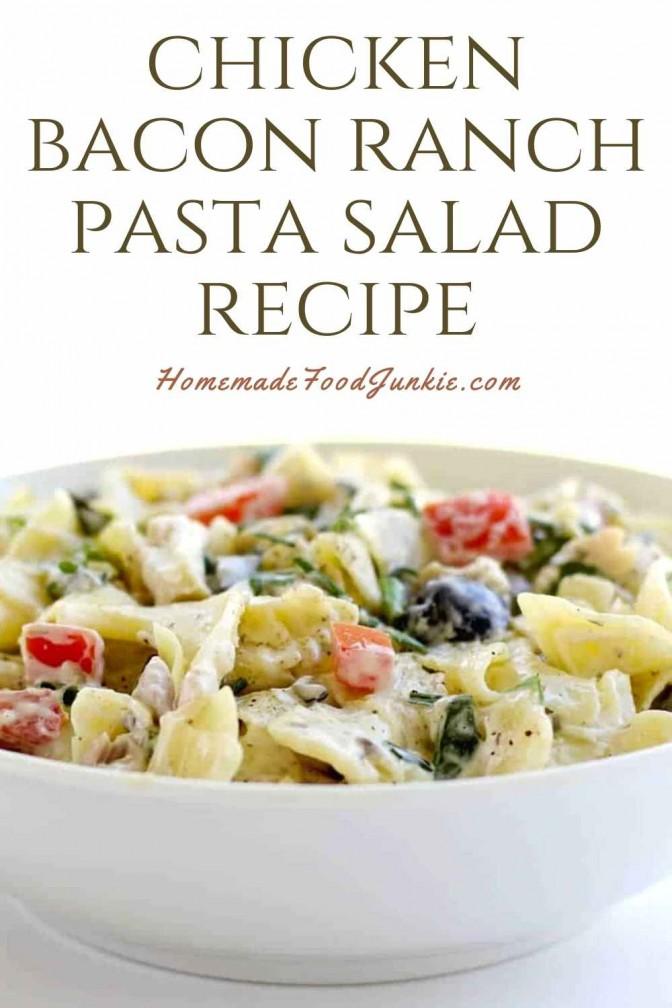 Chicken Bacon Ranch Pasta Salad Recipe-Pin Image