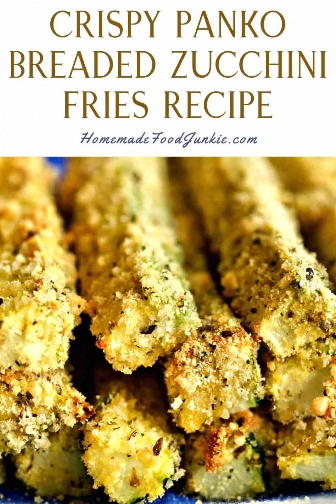 Crispy panko breaded zucchini fries recipe-pin image