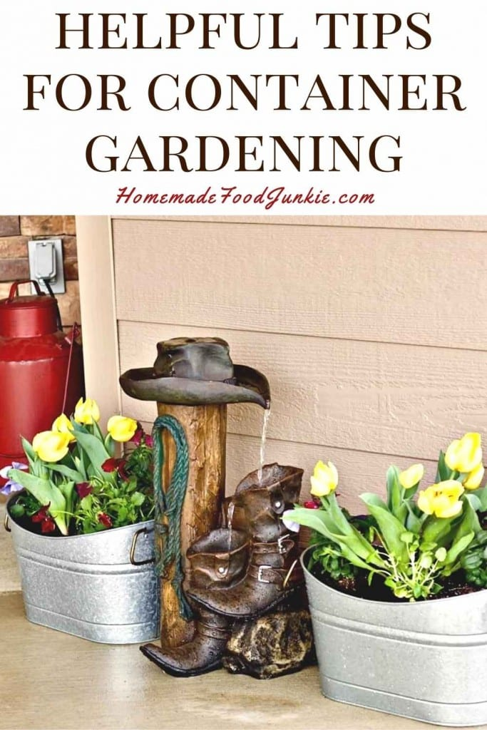 Helpful tips for container gardening-pin image