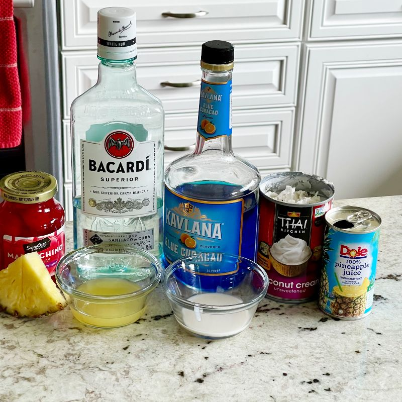 Blue Hawaiian Cocktail-Ingredients