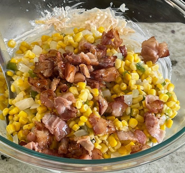 Add Cooked Bacon And Veggies-Corn Dip