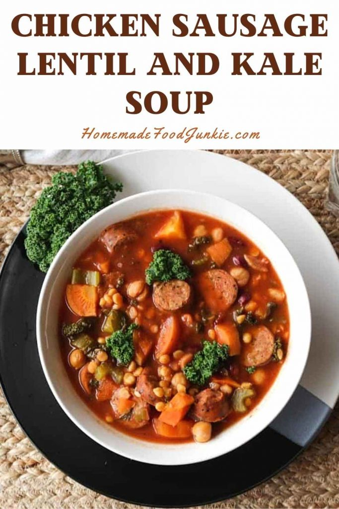 Chicken Sausage Lentil And Kale Soup-Pin Image