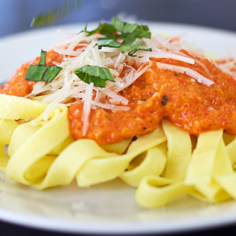 Homemade Red Pepper Sauce On Nnoodles