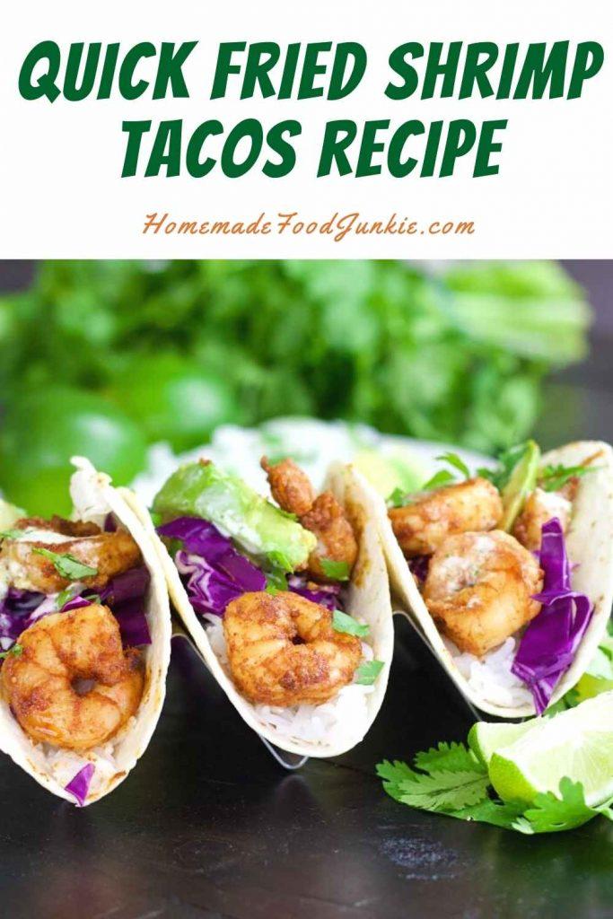 Quick fried shrimp tacos recipe-pin image