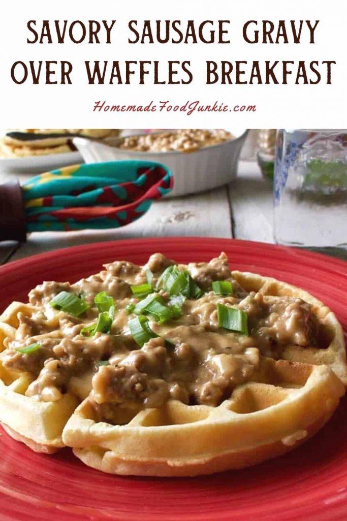 Savory Sausage Gravy Over Waffles Breakfast-Pin Image