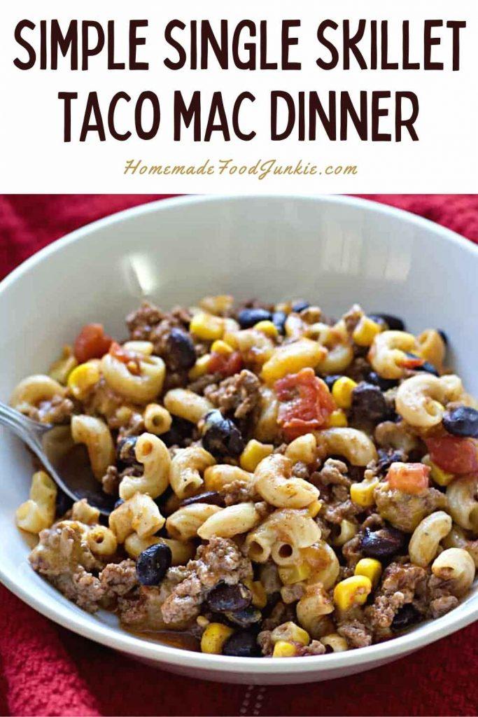 Simple Single Skillet Taco Mac Dinner-Pin Image