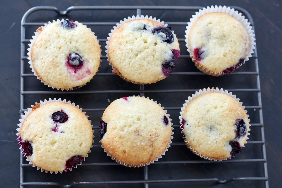 Buttermilk Blueberry Muffins Cooling