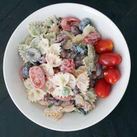 bacon ranch pasta salad in a bowl