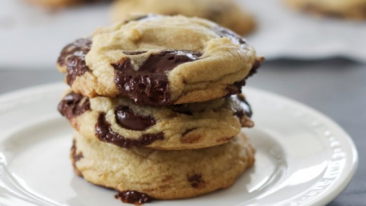 Dark Chocolate Chip Cookies Stacked