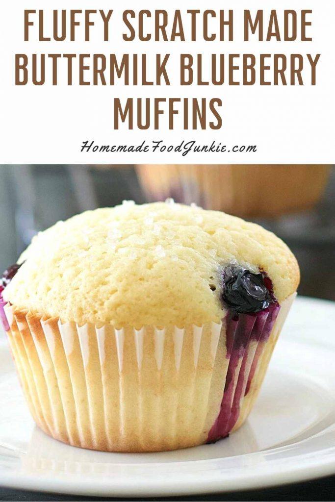 Fluffy Scratch Made Buttermilk Blueberry Muffins-Pin Image