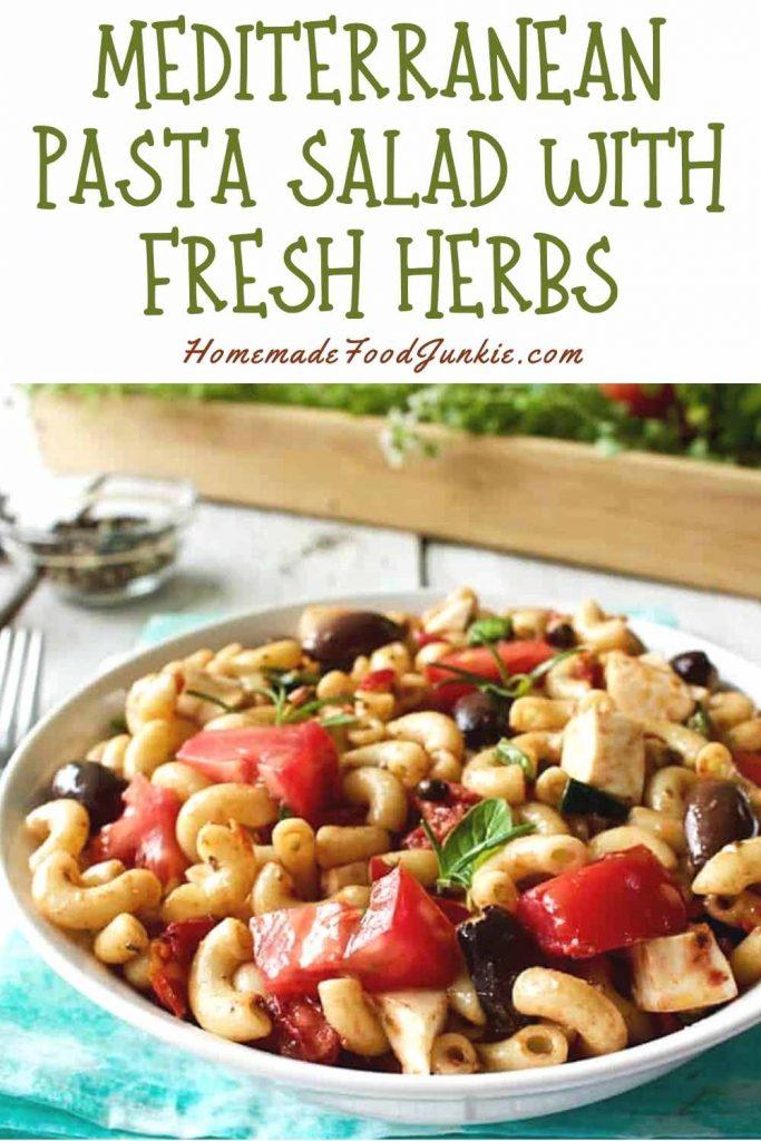 Mediterranean Pasta Salad With Fresh Herbs-Pin Image
