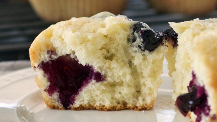 Buttermilk Blueberry Muffin Cut Open On Plate