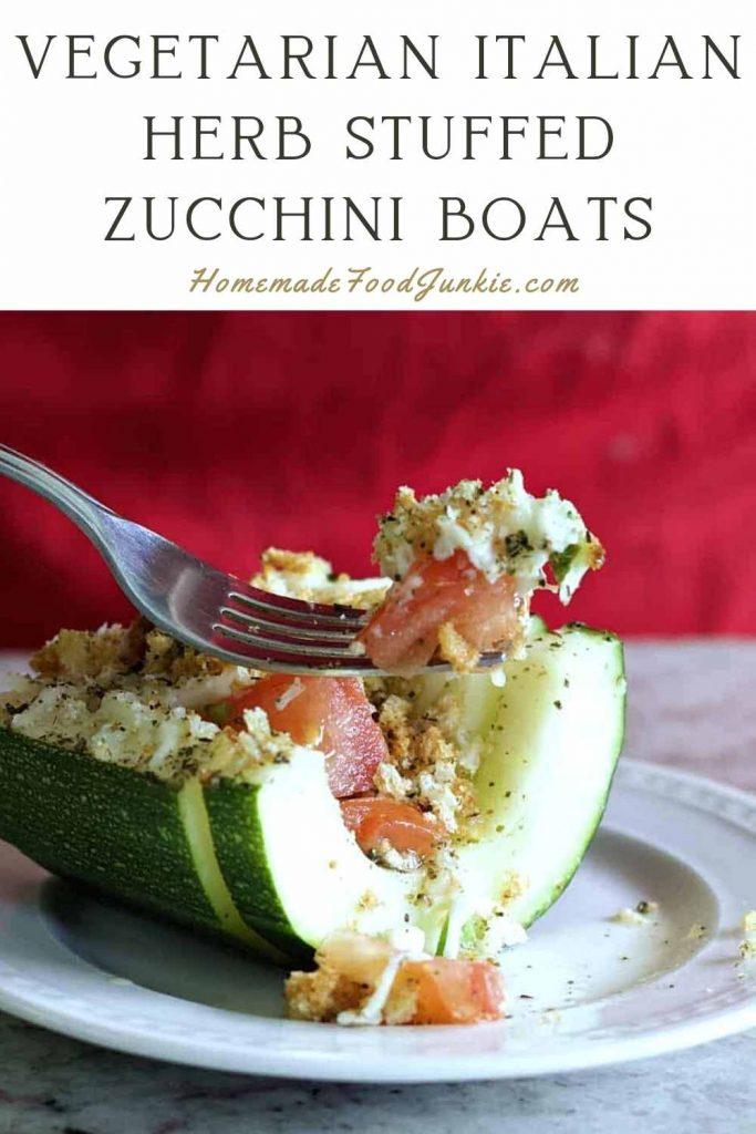 Vegetarian Italian Herb Stuffed Zucchini Boats-Pin Image