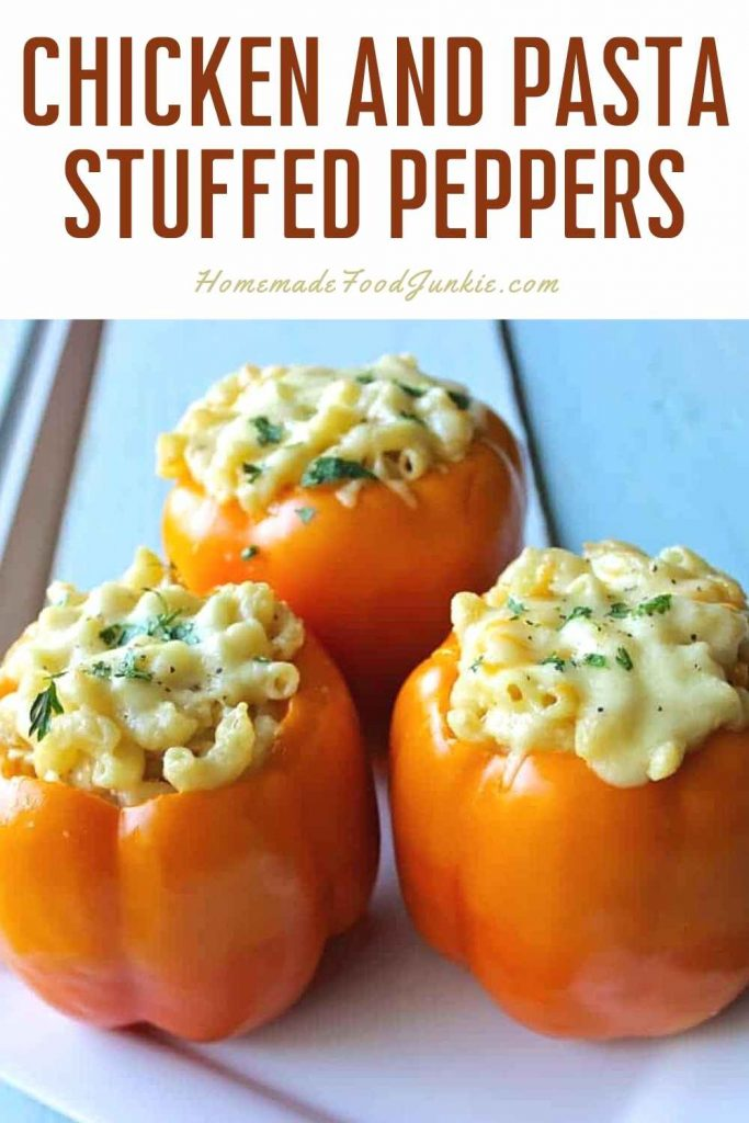 Chicken And Pasta Stuffed Peppers-Pin Image
