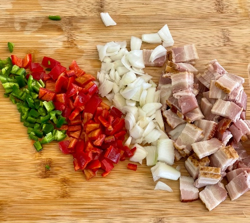 Chopped Vegetables And Bacon
