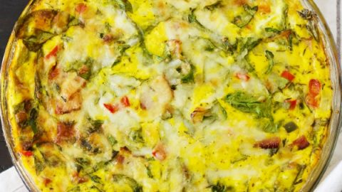 Crustless Spinach Quiche-Top View