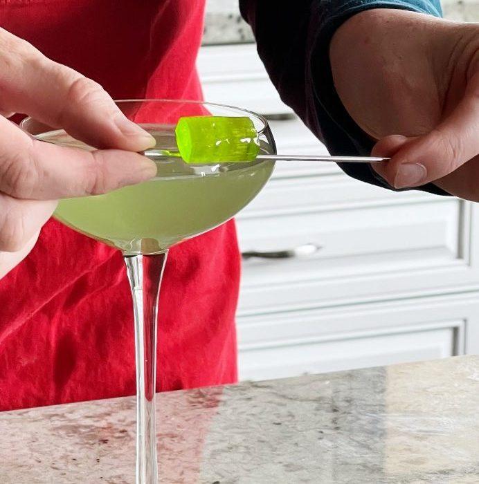 Garnishing Green Apple Jolly Rancher Drink