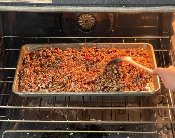 Stirring Baking Granola