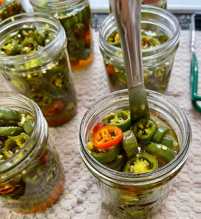 Removing Air Pockets With A Knife-Canning Candied JalapeÑO