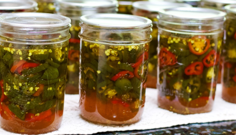 Row Of Canned Candied JalapeÑO