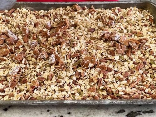Dry Ingredients On Baking Sheet-Pumpkin Granola