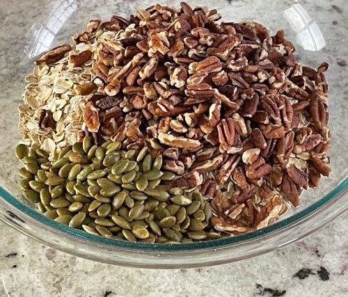 Pumpkin Granola-Dry Ingredients In Bowl