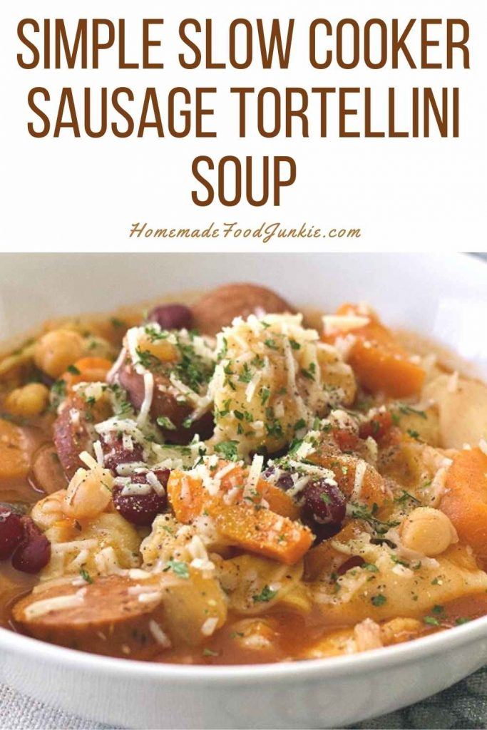 Simple Slow Cooker Tortellini Soup-Pin Image